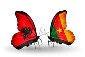 Butterflies with  Albania and  Cameroon flags — Zdjęcie stockowe