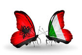 Butterflies with Albania and  Italy flags — Stok fotoğraf