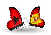 Butterflies with  Albania and  Spain flags — Zdjęcie stockowe