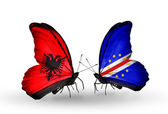 Butterflies with  Albania and  Cape Verde flags — 图库照片