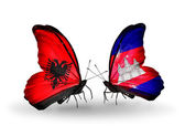 Butterflies with Albania and  Cambodia flags — Zdjęcie stockowe