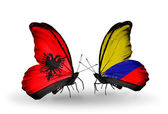 Butterflies with Albania and  Columbia flags — Stock Photo