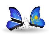 Butterflies with Botswana and Kazakhstan flags — Stock Photo