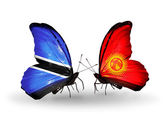 Butterflies with Botswana and Kirghiz flags — Stok fotoğraf
