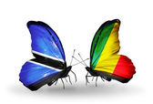 Butterflies with  Botswana and Kongo flags — Stock Photo
