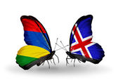 Butterflies with  Mauritius and  Iceland flags — Stock Photo