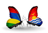 Butterflies with Mauritius and  Kiribati flags — Stock Photo