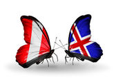 Butterflies with Peru and Iceland flags — Stock Photo