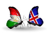 Butterflies with Tajikistan and Iceland flags — Stockfoto