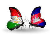Butterflies with Tajikistan and Cambodia flags — Stok fotoğraf