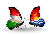 Butterflies with Tajikistan and Kiribati flags — Stockfoto