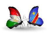Butterflies with Tajikistan and Kongo flags — Stock Photo