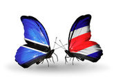 Butterflies with Botswana and Costa Rica flags — Stock Photo