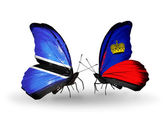 Butterflies with Botswana and Liechtenstein flags — Stock Photo
