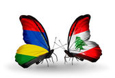 Butterflies with Mauritius and Lebanon flags — Stok fotoğraf