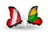 Butterflies with Peru and Lithuania flags — Stock Photo
