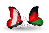 Butterflies with  Peru and Malawi flags — Stockfoto