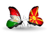 Butterflies with Tajikistan and Macedonia flags — Stockfoto