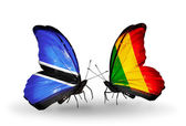 Butterflies with Botswana and Mali flags — Stok fotoğraf