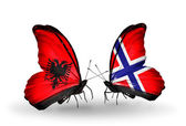 Butterflies with Albania and Norway flags — Stock Photo