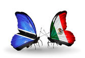 Butterflies with Botswana and Mexico flags — Stockfoto