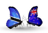 Butterflies with Botswana and New Zealand flags — Stockfoto