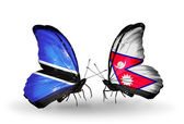 Butterflies with  Botswana and Nepal flags — Stok fotoğraf