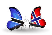 Butterflies with  Botswana and Norway flags — Stockfoto