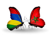 Butterflies with Mauritius and Morocco  flags — Stockfoto