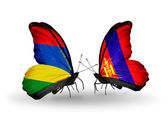 Butterflies with  Mauritius and Mongolia flags — Stok fotoğraf