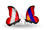 Butterflies with Peru and Mongolia flags — Stock Photo