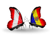 Butterflies with Peru and  Moldova flags — Stok fotoğraf