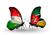 Butterflies with Tajikistan and Mozambique flags — Stock Photo