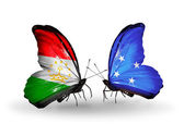 Butterflies with Tajikistan and Micronesia flags — Stock Photo