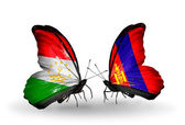 Butterflies with Tajikistan and Mongolia flags — Zdjęcie stockowe