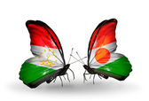 Butterflies with  Tajikistan and Niger flags — Stock Photo