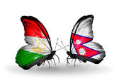 Butterflies with Tajikistan and Nepal flags — Stock Photo