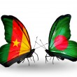Постер, плакат: Butterflies with Cameroon and Bangladesh flags