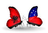 Butterflies with  Albania and Samoa flags — Foto de Stock