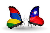 Butterflies with Mauritius and  Taiwan flags — Foto de Stock
