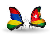 Butterflies with Mauritius and Togo flags — Foto de Stock
