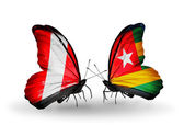 Butterflies with Peru and Togo flags — Foto de Stock
