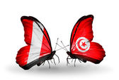 Butterflies with Peru and Tunisia flags — Foto de Stock