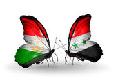 Butterflies with Tajikistan and Syria flags — Zdjęcie stockowe
