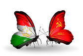 Butterflies with Tajikistan and Soviet Union flags — Stock Photo