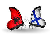 Butterflies with  Albania and Finland flags — Foto de Stock