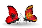 Butterflies with Albania and Sri Lanka flags — Foto de Stock