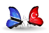 Butterflies with  Botswana and Turkey flags — Foto de Stock