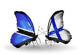 Butterflies with Botswana and Finland flags — Foto de Stock