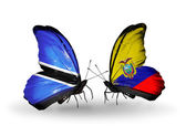 Butterflies with Botswana and Ecuador flags — Stock Photo